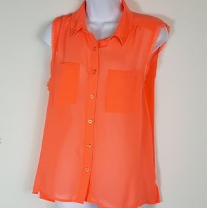 Forever 21 sheer coral sleeveless top